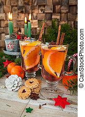 Hot beverage with orange - Hot spiced beverage with orange...