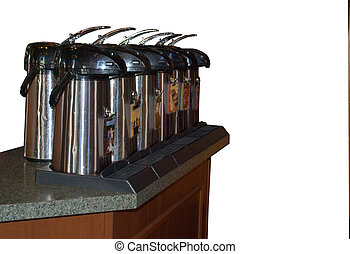 Hot beverages contained in special urns.