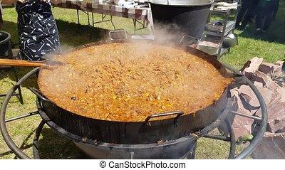hot bigos in a saucepan