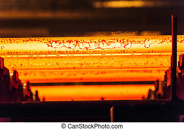 Hot billet bloom continuous casting, also called strand ...