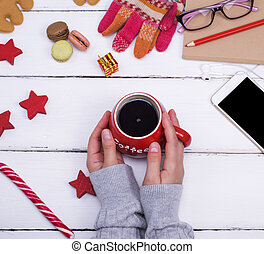 hot black coffee in a red mug ,