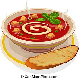 Hot, borscht, tomato soup, kharcho, in a plate, with baguette, with bread, vector, spoon.