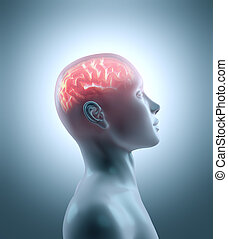 Hot brain in a cold body. Concept of technology, cyborg,...