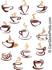 Hot brown coffee icons - Hot brown coffee cup icons set with...
