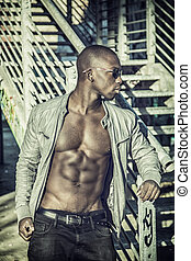 Hot buff black man posing - Portrait of a hot black man in...