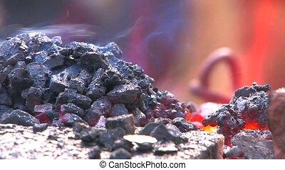 Hot burning embers, closeup