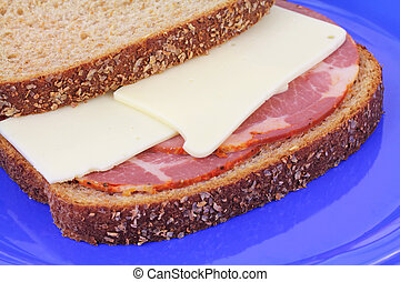 Hot capicola and cheese wheat sandwich - Sandwich with hot...