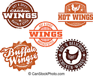 A great selection of vintage style chicken wing designs, perfect for signs and restaurant menus.