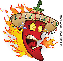 A red hot chili pepper cartoon character wearing a mexican sombrero