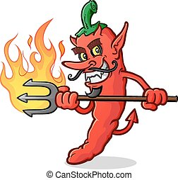 Hot Chili Pepper Devil Cartoon - An evil red hot pepper...