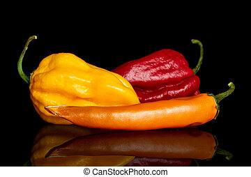 Hot chili pepper isolated on black glass