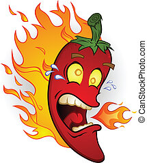 A red chili pepper screaming and sweating while burning in flames