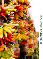 Hot Chili Peppers at a Market