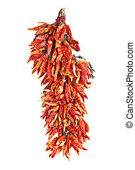 hot chili peppers isolated on the white