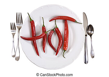 Hot chili peppers on a plate over white