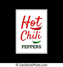 Hot Chili peppers, vector poster design