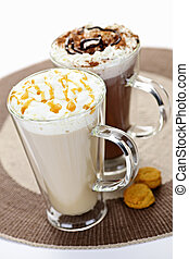 Hot chocolate and coffee beverages - Hot beverages of coffee...