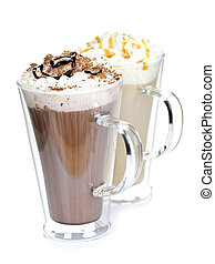 Hot chocolate and coffee beverages with whipped cream...