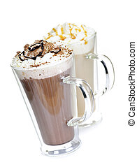 Hot chocolate and coffee beverages with whipped cream ...