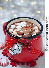 Hot chocolate and marshmallows - Red mugs with hot...