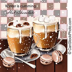 Hot chocolate beverage in glasses Vector. Winter drinks menu retro backgrounds