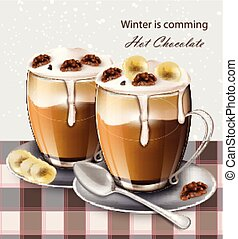 Hot chocolate beverage Vector realistic. Winter drinks menu retro backgrounds