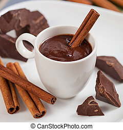 Hot chocolate, chocolate chips, cinnamon and star anise