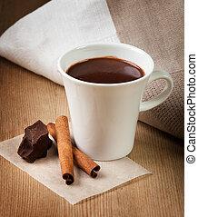 Hot chocolate, chocolate chips, cinnamon