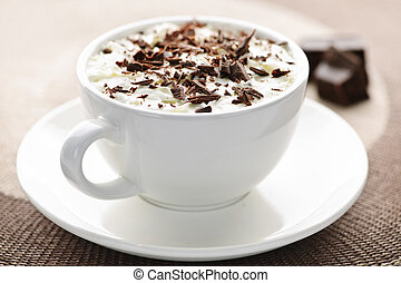 Hot chocolate - Cup of hot cocoa with shaved chocolate and ...