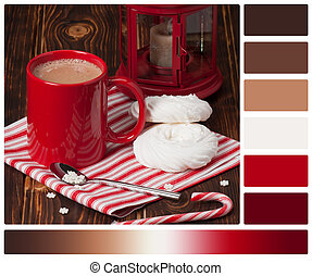 Hot Chocolate Drink. Christmas Sweets And Decorations. Wooden Background. Palette With Complimentary Colour Swatches