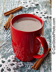 Hot chocolate drink - Red mug of hot chocolate drink with ...