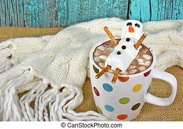 hot chocolate drink with snowman - Marshmallow snowman and...