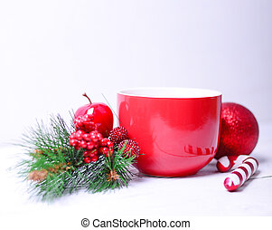 Hot chocolate for Christmas on white background