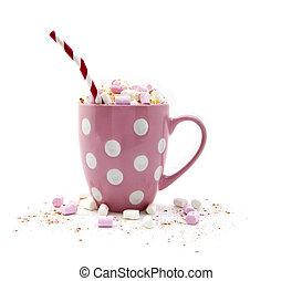 Hot Chocolate in a pink mug