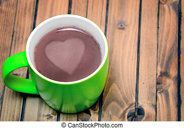 Hot chocolate on table