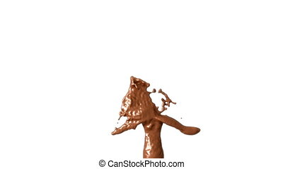Hot chocolate or cocoa splashes with slow motion,