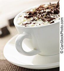 Hot chocolate - Hot cocoa with shaved chocolate and whipped...