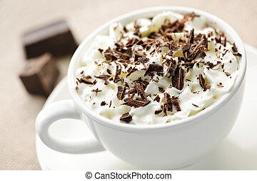 Hot chocolate - Cup of hot cocoa with shaved chocolate and...