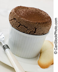 Hot Chocolate Souffle with Langue de Chat Biscuits
