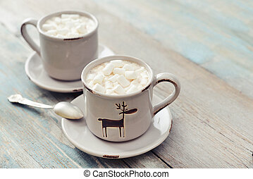 Hot chocolate - Two cups with hot chocolate and marshmallows...