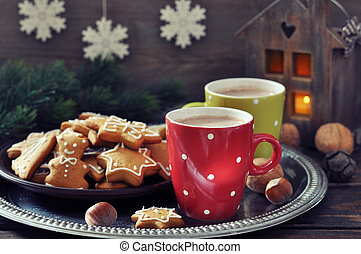 Hot chocolate with ginger cookies
