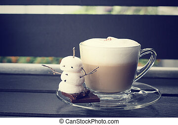 Hot chocolate with marshmallow for christmas