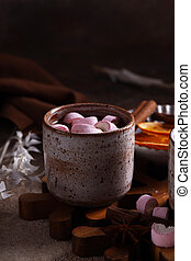 hot chocolate with marshmallows for christmas dessert