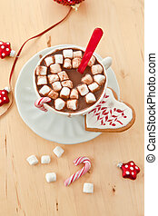 Hot chocolate with marshmallows in a vintage cup