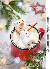 hot chocolate with melted marshmallow snowman - Red mug with...