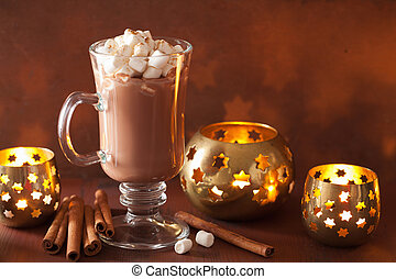 hot chocolate with mini marshmallows cinnamon winter drink candles