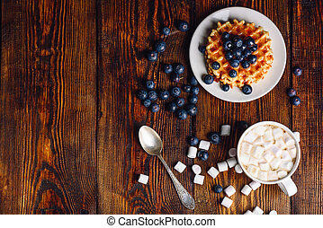 Hot Chocolate with Waffles and Blueberry.