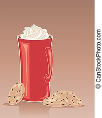 hot chocolate with whipped cream - an illustration of a tall...