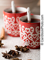 Hot aromatic Christmas drink with spices, mulled red wine, Christmas glogg