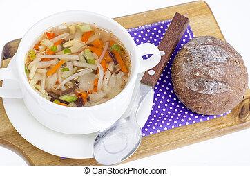 Hot clear broth with vegetables, vegetarian menu